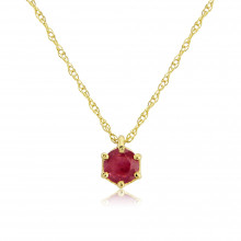 9ct Yellow Gold Ruby Pendant Necklace