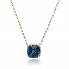 9ct Rose Gold London Blue Topaz Necklace