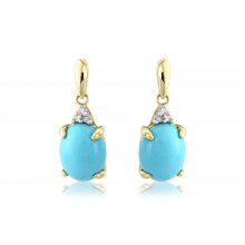9ct Yellow Gold Diamond & Turquoise Oval Drop Earrings