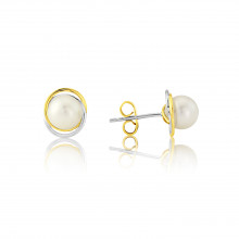 9ct Yellow & White Gold Pearl Earrings