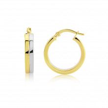 9ct Yellow and White Gold Flat Hoop Earrings
