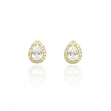 9ct Yellow Gold Cubic Zirconia Pear Cluster Earrings