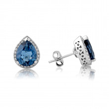 9ct White Gold Diamond & Blue Topaz Earrings