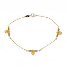9ct Yellow Gold Three Bee Bracelet