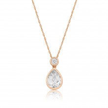 9ct Rose Gold Cubic Zirconia Teardrop Pendant Necklace