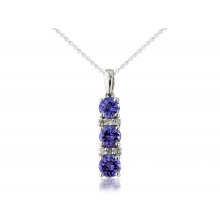 9ct White Gold Diamond & Tanzanite Pendant Necklace