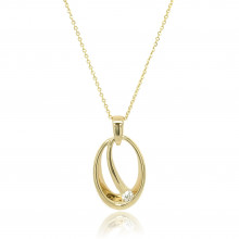 9ct Yellow Gold Diamond Oval Pendant Necklace
