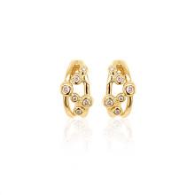 9ct Yellow Gold Diamond Bubble Earrings