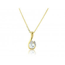 9ct Yellow Gold White Topaz & Diamond Curl Pendant Necklace