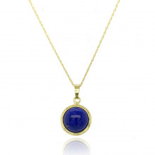 9ct Yellow Gold Domed Lapis Pendant Necklace