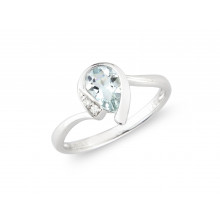 9ct White Gold Diamond Aquamarine Pear Ring