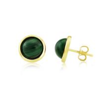9ct Yellow Gold Malachite Stud Earrings