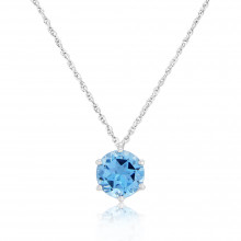 9ct White Gold Blue Topaz Star Pendant Necklace