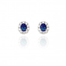 18ct White Gold Diamond and Sapphire Cluster Earrings