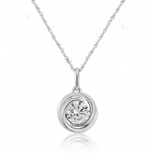 9ct White Gold Cubic Zirconia Swirl Pendant Necklace