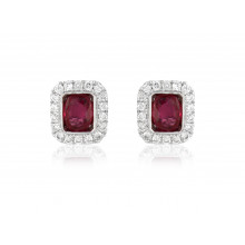 18ct White Gold Diamond Ruby Earrings