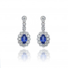 9ct White Gold Diamond Oval Scallop Sapphire Stud Earrings