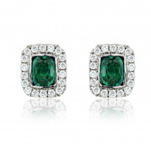 18ct White Gold Diamond Emerald Earrings