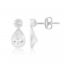 9ct White Gold Cubic Zirconia Peardrop Earrings
