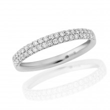 18ct White Gold Diamond Double Pavee Ring