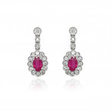 9ct White Gold Diamond Oval Scallop Ruby Stud Earrings