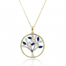 9ct Yellow and White Gold Diamond with Sapphire Tree of Life Pendant Necklace