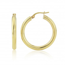 9ct Yellow Gold Tube Hoop Earrings (Medium)