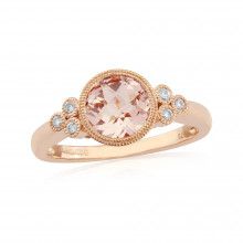 9ct Rose Gold Diamond and Morganite Ring