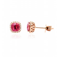 9ct Rose Gold Diamond & Pink Tourmaline Stud Earrings