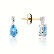 9ct Diamond Blue Topaz Earrings