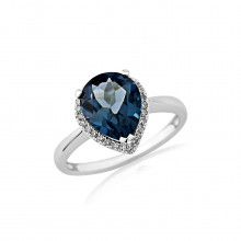 9ct White Gold Diamond & London Blue Topaz Ring