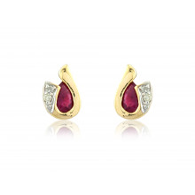 9ct Yellow Gold Ruby & Diamond Curl Earrings