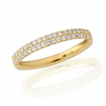 18ct Yellow Gold Diamond Double Pavee Ring