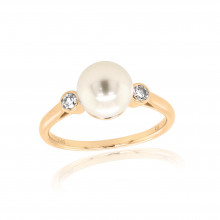 9ct Yellow Gold Diamond & Pearl Ring