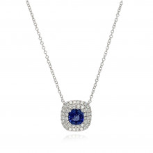 18ct White Gold Diamond & Sapphire Necklace