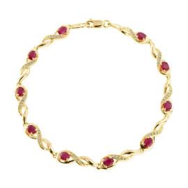 9ct Yellow Gold Diamond Oval Ruby Bracelet