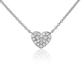 9ct White Gold Diamond Heart Necklace