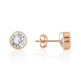 9ct Rose Gold Cubic Zirconia Stud Earrings