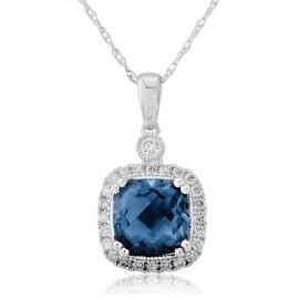9ct White Gold Diamond & Blue Topaz Cushion Pendant Necklace
