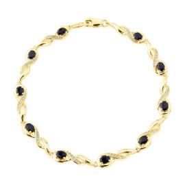 9ct Yellow Gold Diamond Oval Sapphire Bracelet