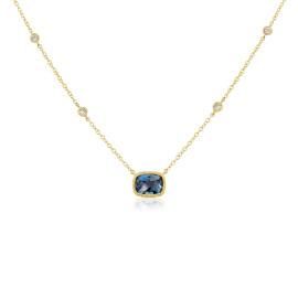 9ct Yellow Gold Diamond & Blue Topaz Necklace