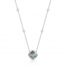 9ct White Gold Diamond & Aquamarine Pendant Necklace