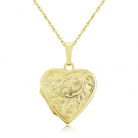 9ct Yellow Gold Heart Embossed Locket Necklace