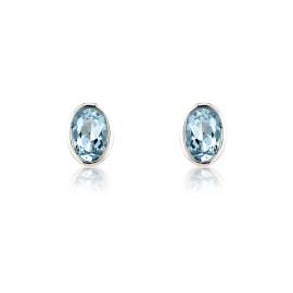 9ct White Gold Aquamarine Oval Earrings