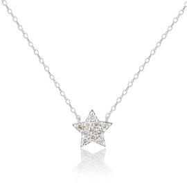 9ct White Gold Diamond Star Necklace