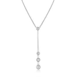 9ct White Gold Diamond Drop Pendant Necklace