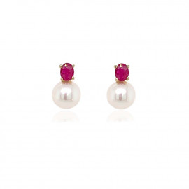 9ct Yellow Gold Culture Pearl and Ruby Stud Earrings