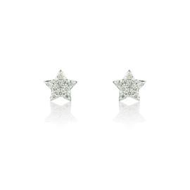 9ct White Gold Diamond Star Earrings