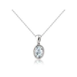 9ct White Gold Aquamarine Oval Pendant Necklace