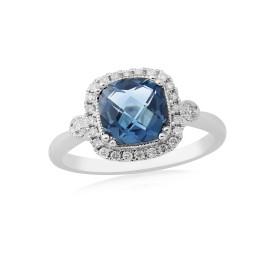 9ct White Gold Diamond And Blue Topaz Ring